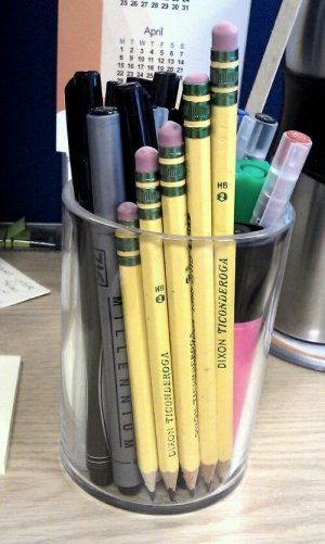 five Dixon Ticonderoga pencils in a pot